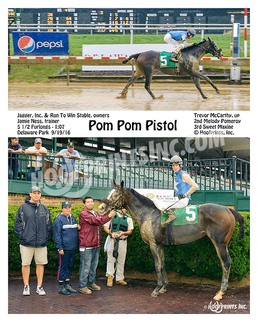 Pom Pom Pistol winning at Delaware Park on 9/19/16