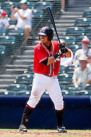 Eliezer Zambrano #15 of the Richmond Flying Squirrels at bat against the Harrisburg Senators at The Diamond on July 22, 2011 in Richmond, Virginia.  The Squirrels defeated the Senators 5-1.   (Brian Westerholt / Four Seam Images)