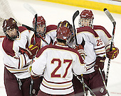 Chris Cobb (BC - 4), Taylor Licolli (BC - 7), John Doherty (BC - 27), Brian Isaac (BC - 29), Pat Morris (BC - 8) - The Boston College Eagles defeated the visiting Boston University Terriers 6-2 in ACHA play on Sunday, December 4, 2011, at Kelley Rink in Conte Forum in Chestnut Hill, Massachusetts.