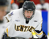Jared Rickord (Bentley - 27) - The Bentley University Falcons defeated the visiting Robert Morris University Colonials 2-1 on Friday, January 6, 2012, at the John A. Ryan Skating Arena in Watertown, Massachusetts.