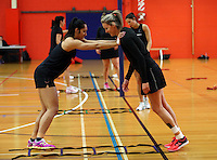 30.10.2014 Silver Ferns Leana de Bruin in action during training ahead of the second test match in Palmerston North. Mandatory Photo Credit ©Michael Bradley.
