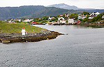 Traditional rural coastal housing near Bronnoy, Bronnoysund, Nordland, Norway