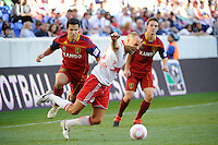 Joel Lindpere (20) of the New York Red Bulls goes down after being fouled by Tony Beltran (2) of Real Salt Lake during a Major League Soccer (MLS) match at Red Bull Arena in Harrison, NJ, on October 09, 2010.