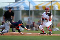 Illinois State Redbirds Mason Snyder (7) waits for a throw as the runner dives back to first with umpire Ron Brown looking on during a game against the Bucknell Bison on March 8, 2015 at North Charlotte Regional Park in Port Charlotte, Florida.  Bucknell defeated Illinois State 13-8.  (Mike Janes Photography)