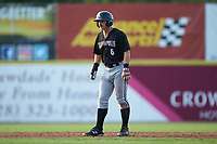 Ian Dawkins (6) of the Kannapolis Intimidators takes his lead off of second base against the Hickory Crawdads at L.P. Frans Stadium on July 20, 2018 in Hickory, North Carolina. The Crawdads defeated the Intimidators 4-1. (Brian Westerholt/Four Seam Images)