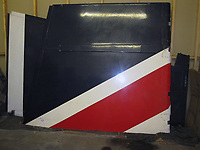 BNPS.co.uk (01202 558833)<br /> Pic: Humbert&EllisAuctioneers/BNPS<br /> <br /> Faster than a speeding bullet... Rudders from a Concorde jet which flew faster than a rifle round at twice the speed of sound. <br /> <br /> <br /> A  rare set of rudders that flew supersonic on a Concorde jet have emerged for sale at auction for a whopping £6,000.<br /> <br /> The pieces are painted in British Airways blue, red and white and are set to excite aeroplane buffs desperate to get their hands on a chunk of history.<br /> <br /> The upper rudder measures 4.1ft by 10.7ft by 4.4ft and has a BA Engineering cut out which was made to inspect for corrosion.<br /> <br /> Also included in the same sale are a pair of Concorde seats dating back to 1995.<br /> <br /> After being removed from the aircraft by BA they went on to be displayed on pre-production Concorde 101 G-AXDN plane.<br /> <br /> They are now mounted on wooden base for display purposes and come complete with original electrical connections.