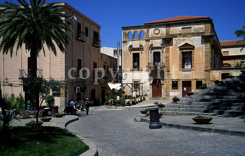Piazza del Duomo is a square in the medieval town of Cefalù, Sicily, Italy, Europe