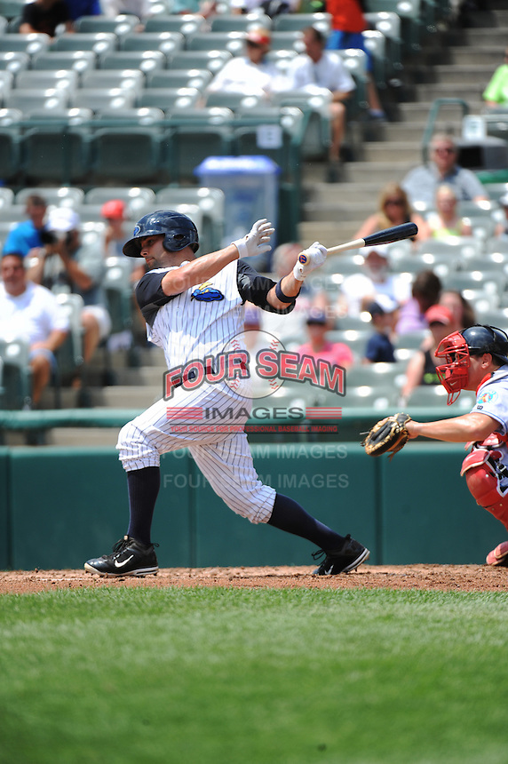 Trenton Thunder outfielder Shane Brown (17) during game against the Reading Fightin Phils at ARM & HAMMER Park on July 8, 2013 in Trenton, NJ.  Trenton defeated Reading 10-6.  (Tomasso DeRosa/Four Seam Images)
