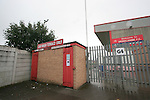 The turnstiles at the Car Wash terrace at Morecambe Football Club. The club was preparing for the club's first-ever season in the Football League having been promoted from the Conference the previous season.  Photo by Colin McPherson.