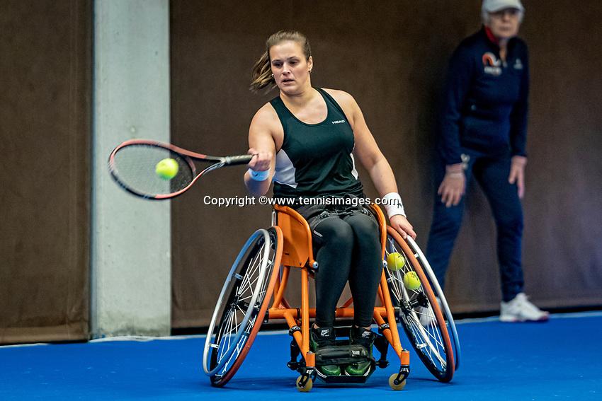 Alphen aan den Rijn, Netherlands, December 18, 2019, TV Nieuwe Sloot,  NK Tennis, Wheelchair doubles: Kelly van der Ven (NED)<br /> Photo: www.tennisimages.com/Henk Koster