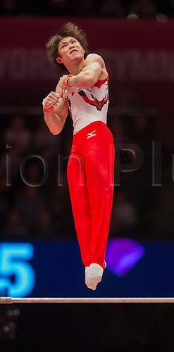 30.10.2015. Glasgow, Scotland. FIG Artistic Gymnastics World Championships. Day Eight. Kohei UCHIMURA (JPN) 2014 World Championships Team Silver Medallist and All-Around Gold Medallist and Horizontal Bar Silver Medallist during his Horizontal Bar routine in the Men's All-Around Final.