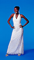 African American woam in wedding dress
