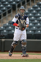 Peoria Javelinas catcher Jake Lowery (35), of the Cleveland Indians organization, during an Arizona Fall League game against the Surprise Scorpions on October 9, 2013 at Scottsdale Stadium in Scottsdale, Arizona.  Surprise defeated Peoria 9-5.  (Mike Janes/Four Seam Images)