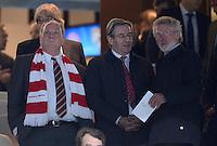 FUSSBALL   CHAMPIONS LEAGUE SAISON 2011/2012  HALBFINALE  RUECKSPIEL      Real Madrid - FC Bayern Muenchen           25.04.2012 Praesident Uli Hoeness, Karl Hopfner und Paul Breitner (v.l., alle Bayern Muenchen) zu Gast auf der Ehrentribuene