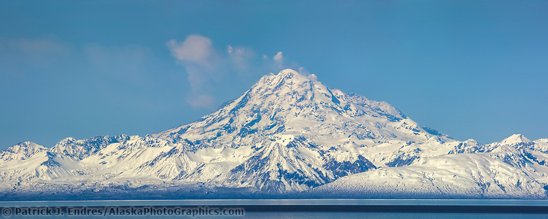 Panorama of Mt. Redoubt, chigmit mountains, aleutian range, as viewed across the Cook Inlet, southcentral, Alaska.