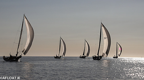 Shortly after the start, the 15-boat fleet head for the first virtual mark on the 70-mile course Photo: Afloat