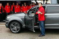 Real Madrid player Mesut Ozil participates and receives new Audi during the presentation of Real Madrid's new cars made by Audi at the Jarama racetrack on November 8, 2012 in Madrid, Spain.(ALTERPHOTOS/Harry S. Stamper) .<br />
