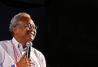 People's Democratic Reform Committee (PDRC) leader Suthep Thaugsuban makes a speech to thousands of anti-government protesters in the heart of Bangkok.