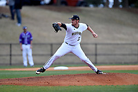 Starting pitcher Adam Scott (33) of the Wofford Terriers delivers a pitch in a game against the Furman Paladins on Friday, March 24, 2017, at Russell C. King Field in Spartanburg, South Carolina. Wofford won, 9-8. (Tom Priddy/Four Seam Images)