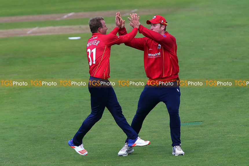 Neil Wagner of Essex celebrates taking the wicket of Roelof van der Merwe during Somerset vs Essex Eagles, Royal London One-Day Cup Cricket at The Cooper Associates County Ground on 14th May 2017