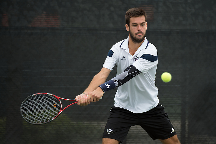 April 22, 2015; San Diego, CA, USA; Saint Mary's Gaels tennis player Arthur Weber during the WCC Tennis Championships at Barnes Tennis Center.