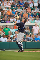 New York Yankees catcher Ryan Lavarnway (30) settles under a pop up foul ball during a Grapefruit League Spring Training game against the Detroit Tigers on February 27, 2019 at Publix Field at Joker Marchant Stadium in Lakeland, Florida.  Yankees defeated the Tigers 10-4 as the game was called after the sixth inning due to rain.  (Mike Janes/Four Seam Images)