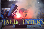 Bengalos im Fanblock beim Spiel im DFB Pokal Viertelfinale, 1. FC Saarbruecken - Fortuna Duesseldorf .<br /> <br /> Foto © PIX-Sportfotos *** Foto ist honorarpflichtig! *** Auf Anfrage in hoeherer Qualitaet/Aufloesung. Belegexemplar erbeten. Veroeffentlichung ausschliesslich fuer journalistisch-publizistische Zwecke. For editorial use only. DFL regulations prohibit any use of photographs as image sequences and/or quasi-video.