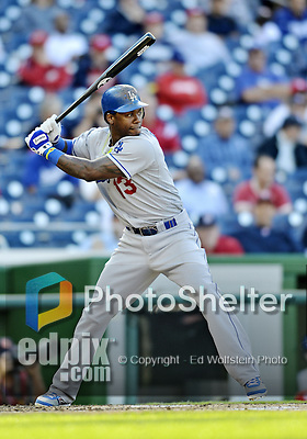 19 September 2012: Los Angeles Dodgers shortstop Hanley Ramirez in action against the Washington Nationals at Nationals Park in Washington, DC. The Nationals defeated the Dodgers 3-1 in the first game of their double-header. Mandatory Credit: Ed Wolfstein Photo