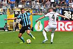 11.08.2019, Carl-Benz-Stadion, Mannheim, GER, DFB Pokal, 1. Runde, SV Waldhof Mannheim vs. Eintracht Frankfurt, <br /> <br /> DFL REGULATIONS PROHIBIT ANY USE OF PHOTOGRAPHS AS IMAGE SEQUENCES AND/OR QUASI-VIDEO.<br /> <br /> im Bild: Michael Schultz (SV Waldhof Mannheim #23), Ante Rebic (Eintracht Frankfurt #4)<br /> <br /> Foto © nordphoto / Fabisch