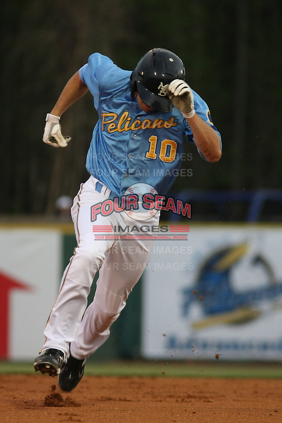 Myrtle Beach Pelicans outfielder Jared Hoying #10 running to third base during the opening game of the season against the Wilmington Blue Rocks at BB&T Coastal Field in Myrtle Beach, SC on April 8, 2011.   Photo By Robert Gurganus/Four Seam Images