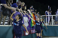 Cary, North Carolina  - Saturday June 17, 2017: Debinha, McCall Zerboni, and Lynn Williams after a regular season National Women's Soccer League (NWSL) match between the North Carolina Courage and the Boston Breakers at Sahlen's Stadium at WakeMed Soccer Park. The Courage won the game 3-1.