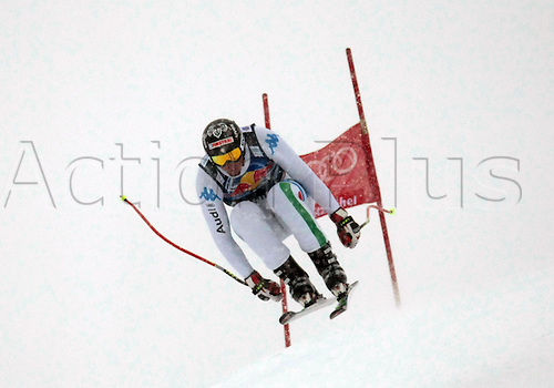 21.01.2012. Kitzbuehel, Austria. Dominik PARIS (ITA) in action during the Alpine Ski World Cup Hahnenkamm Downhill