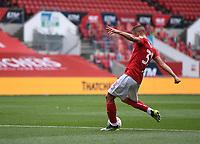 15th July 2020; Ashton Gate Stadium, Bristol, England; English Football League Championship Football, Bristol City versus Stoke City; Filip Benkovic of Bristol City shoots and scores in 45th minute 1-0