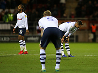 The Preston North End players show their dejection at the final whistle<br /> <br /> Photographer David Shipman/CameraSport<br /> <br /> The EFL Sky Bet Championship - Rotherham United v Preston North End - Tuesday 1st January 2019 - New York Stadium - Rotherham<br /> <br /> World Copyright © 2019 CameraSport. All rights reserved. 43 Linden Ave. Countesthorpe. Leicester. England. LE8 5PG - Tel: +44 (0) 116 277 4147 - admin@camerasport.com - www.camerasport.com