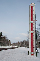 A snow thermometer on Michigan's Keweenaw Peninsula where annual snow fall is tracked by residents.