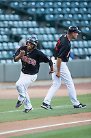Cleuluis Rondon (13) of the Winston-Salem Dash hustles towards home plate against the Salem Red Sox at BB&T Ballpark on June 16, 2016 in Winston-Salem, North Carolina.  The Dash defeated the Red Sox 7-1.  (Brian Westerholt/Four Seam Images)