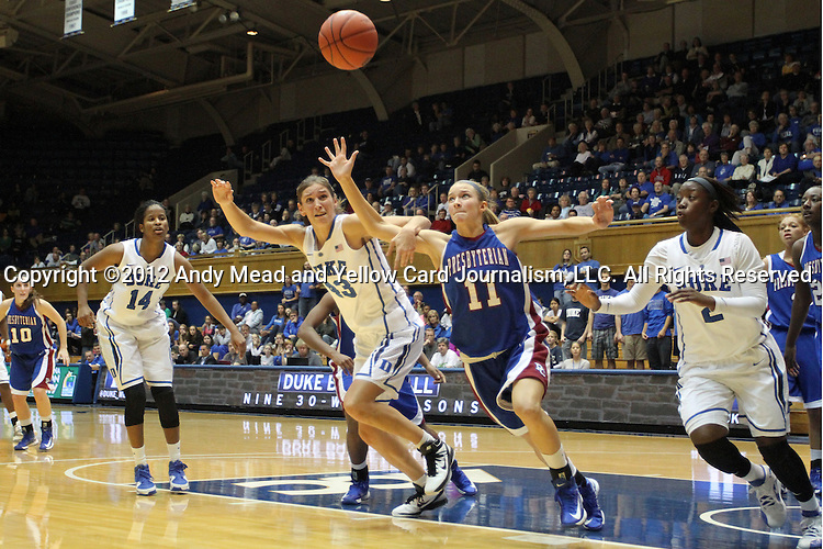 17 November 2012: Presbyterian's Chelsea Parker (11) and Duke's Allison Vernerey (FRA) (43), Alexis Jones (2), and Ka'lia Johnson (14) all chase the ball. The Duke University Blue Devils played the Presbyterian College Blue Hose at Cameron Indoor Stadium in Durham, North Carolina in an NCAA Division I Women's Basketball game. Duke won the game 84-45.