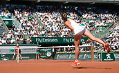 8th June 2017, Roland Garros, Paris, France; French Open tennis championships;  Jelena Ostapenko (Lat) as she beats T. Bacsinszky (Sui) in the ladies singles semi-final