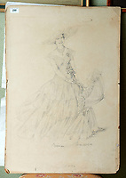 BNPS.co.uk (01202 558833)<br /> Pic: PhilYeomans/BNPS<br /> <br /> Norman Hartnell sketch of a young Queen Elizabeth.<br /> <br /> A remarkable 'timewarp' archive amassed by a dressmaker to the Queen has sold for over £100,000.<br /> <br /> The late Ian Thomas meticulously kept his fashion designs, letters, cards and photographs relating to the Queen at his home that was more like a museum. <br /> <br /> He helped design the Queen's coronation gown in 1953 as well as the powder blue outfit she wore for Charles and Diana's wedding in 1981.<br /> <br /> The lifelong bachelor passed away in 1993 and left his home and its contents to a florist he had been good friends with for 25 years.<br /> <br /> After she died in 2015 the property was inherited by a relative who also knew Mr Thomas well.<br /> <br /> She has now sold the contents at auction.