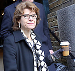 Vicky Pryce - ex wife of Chris Huhne arrives Southwark Crown Court today ..holding coffee cup...Pic by Gavin Rodgers/Pixel 8000 Ltd  8.2.13