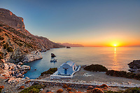The sunrise from the famous Agia Anna in Amorgos island, Greece