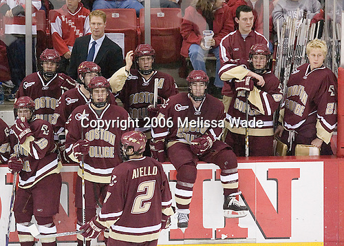 Boston College waits for the penalty announcement following Gerbe's hit on Drewiske - Brock Bradford 19, Joe Adams 11, Greg Brown, Brian O'Hanley 23, Carl Sneep 7, Anthony Aiello 2, Mike Brennan 4, Brett Motherwell 8, Tim McFeely, Tim Filangieri 5 and Joe Pearce 29.  The Boston College Eagles defeated the University of Wisconsin Badgers 3-0 on Friday, October 27, 2006, at the Kohl Center in Madison, Wisconsin in their first meeting since the 2006 Frozen Four Final which Wisconsin won 2-1 to take the national championship.<br />