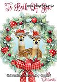 John, CHRISTMAS ANIMALS, WEIHNACHTEN TIERE, NAVIDAD ANIMALES, deers, wreath,paintings+++++,GBHSFBHX-003A-02,#xa#
