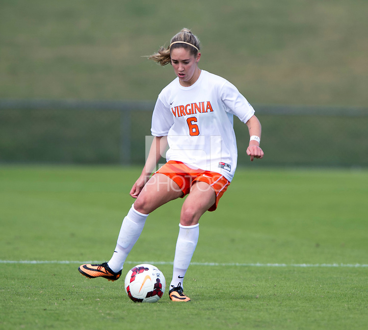 Morgan Brian (6) of Virginia brings the ball upfield during the game at Klockner Stadium in Charlottesville, VA.  Virginia defeated Maryland, 1-0.