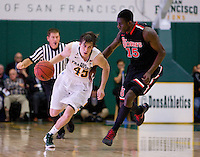 Cody Doolin of USF in action during the game against St. John's at War Memorial Gym in San Francisco, California on December 4th, 2012.   USF Dons defeated St. John's, 81-65.