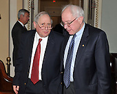 Washington, D.C. - December 22, 2009 -- United States Senators Carl Levin (Democrat of Michigan), left, and Bernard Sanders (Independent of Vermont) depart the Senate Democratic Party Caucus Luncheon in the U.S. Capitol on Tuesday, December 22, 2009.Credit: Ron Sachs / CNP.(RESTRICTION: NO New York or New Jersey Newspapers or newspapers within a 75 mile radius of New York City)