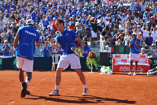 05.03.2016. Vélodrome Amédée Detraux, Guadeloupe, France. Davis Cup 1st round. France versus Canada.  Doubles partners Richard Gasquet and Jo Wilfried Tsonga (Fra)