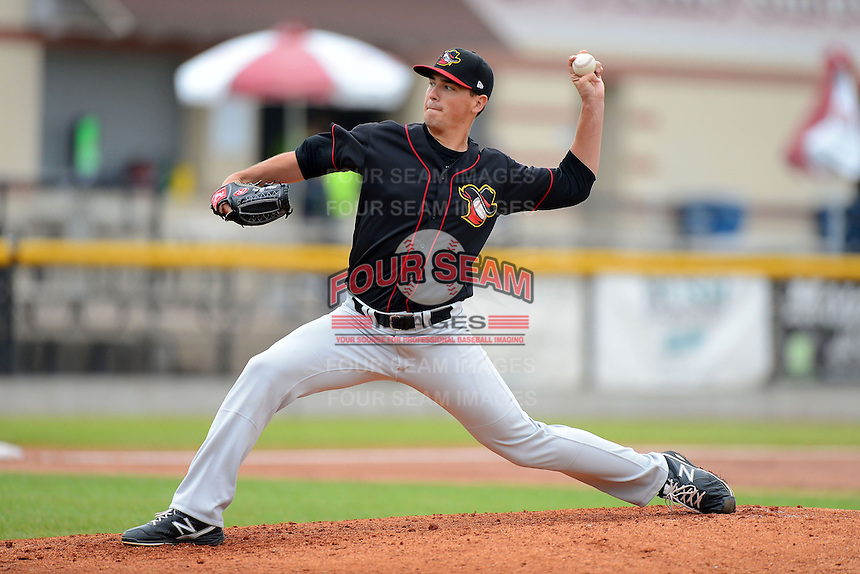 Quad Cities River Bandits pitcher Brian Holmes #41 during a game against the Clinton LumberKings May 26, 2013 at Ashford University Field in Clinton, Iowa.  Quad Cities defeated Clinton 5-2.  (Mike Janes/Four Seam Images)