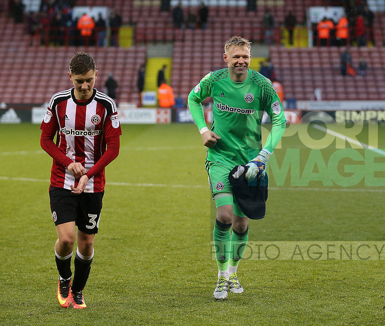 Aaron Ramsdale of Sheffield Utd leaves the field following his debut during the Emirates FA Cup Round One match at Bramall Lane Stadium, Sheffield. Picture date: November 6th, 2016. Pic Simon Bellis/Sportimage