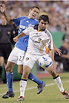 Sep 27 2007:  Josh Tudela (19) of the Galaxy and Davy Arnaud (22) of the Wizards battle for the ball.  The MLS Kansas City Wizards were defeated by the visiting Los Angeles Galaxy 1-0 at Arrowhead Stadium in Kansas City, Missouri, in a regular season league soccer match.